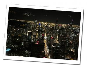 The stunning night view across the illuminated City from the Signature lounge, Chicago, USA