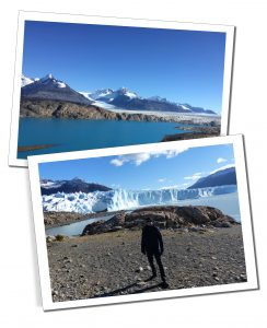 A First Timer's Guide to Argentina, SueWhereWhyWhat standing by a deep blue lake at the head of the glacier in the sunshine of El Calafate, Perito Moreno, Patagonia, Argentina