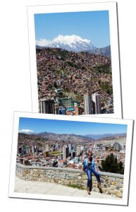 Suewherewhywhat at the View Mirador Killi, overlooking the city and snow capped mountains, La Paz, Bolivia