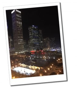 The stunning night view across the illuminated City from Cindy's, Chicago, USA