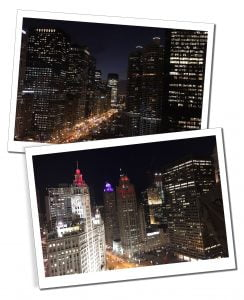 Views from the skyscrapers of an illuminated City at night from London House, Chicago, USA
