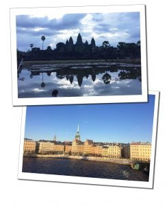 Angar Wot temple, Cambodian and the water front of Stockholm, Sweden - Life List - My First 12 Months (2016)