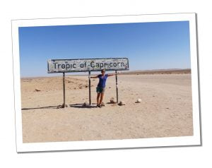 SueWhereWhyWhat at the Sign post for the Tropic of Capricorn
