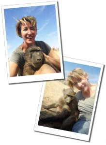 SueWhereWhyWhat & young Baboons, N/a'ankuse Wildlife Sanctuary, Windhoek, Namibia