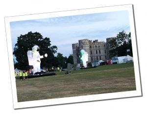 A giant inflatable Spacemen at Bestival Festival, Dorset England
