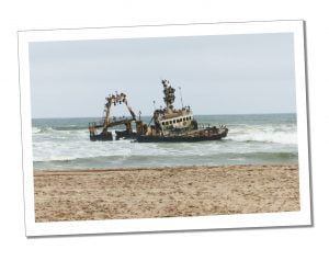A shipwreck on the shore the Skeleton Coast, Namibia