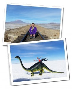 SueWhereWhyWhat at the Uyuni Salt Flats, and the Bolivia to Chile train track
