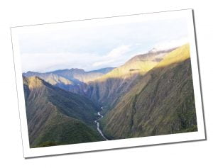 The distant river in the valley below during the 4 day Inca Trail hike, Peru