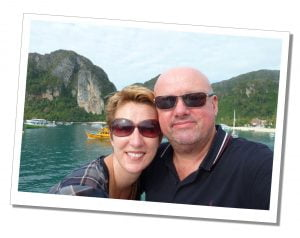 SueWhereWhyWhat and Husband Terry on holiday - Travel For Singles Over 40