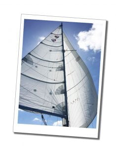 A billowing yacht sail on a sunny day in the Turks & Caicos Islands
