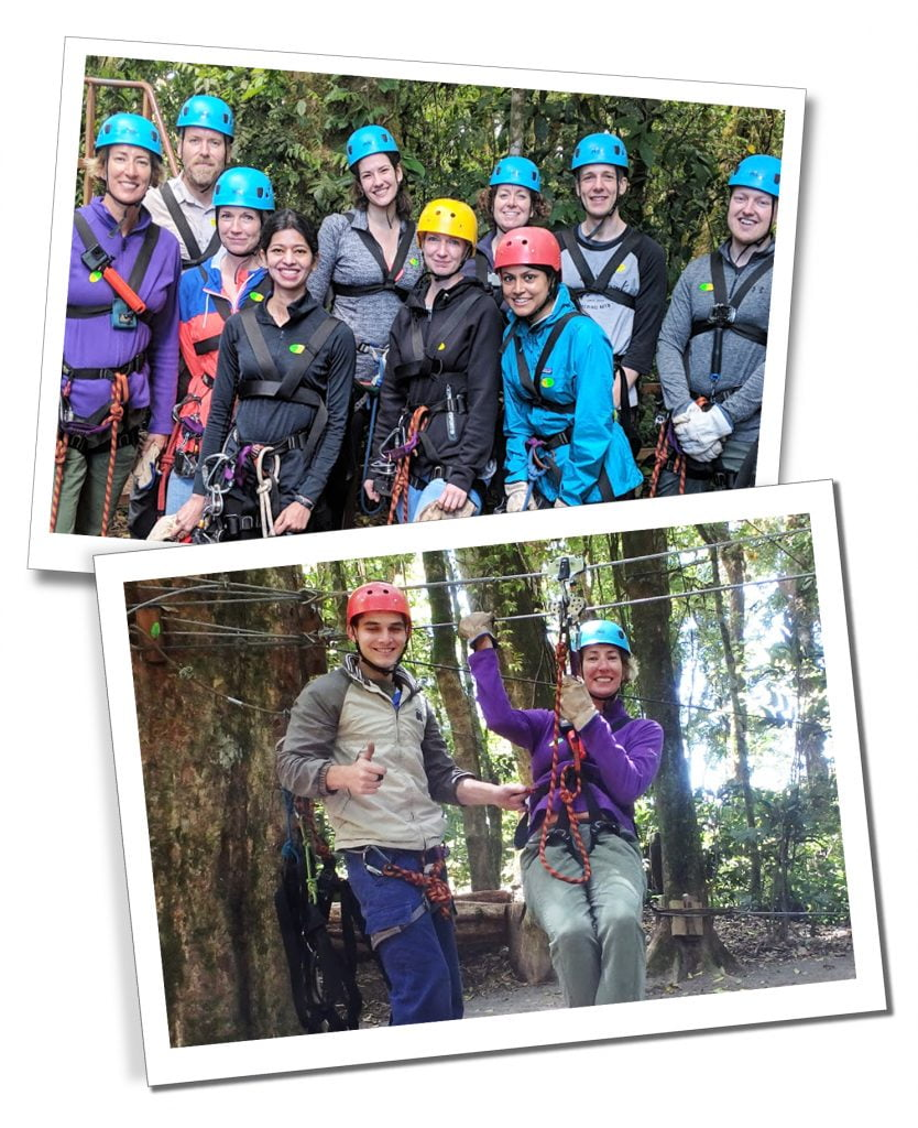 SueWhereWhyWhat in Monteverde, with the group Ziplining on the 'Superman'