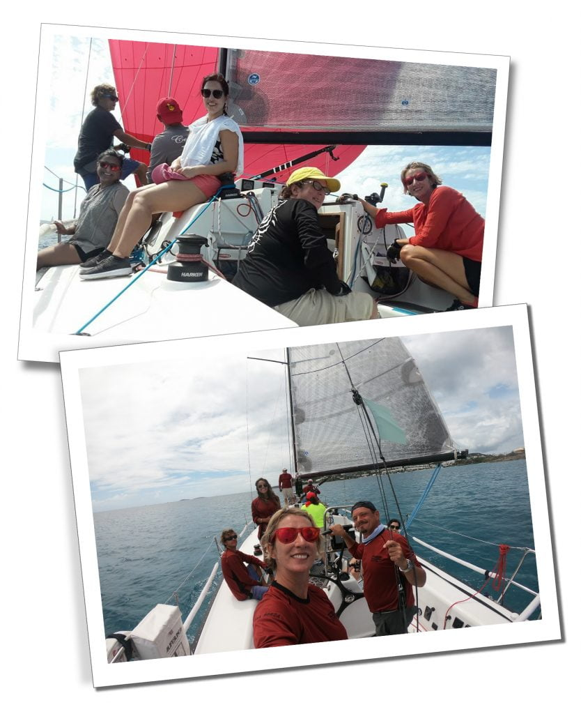 SueWhereWhyWhat with her crew on deck taking part in the St.Thomas's Regatta, St.Thomas's, BVI.