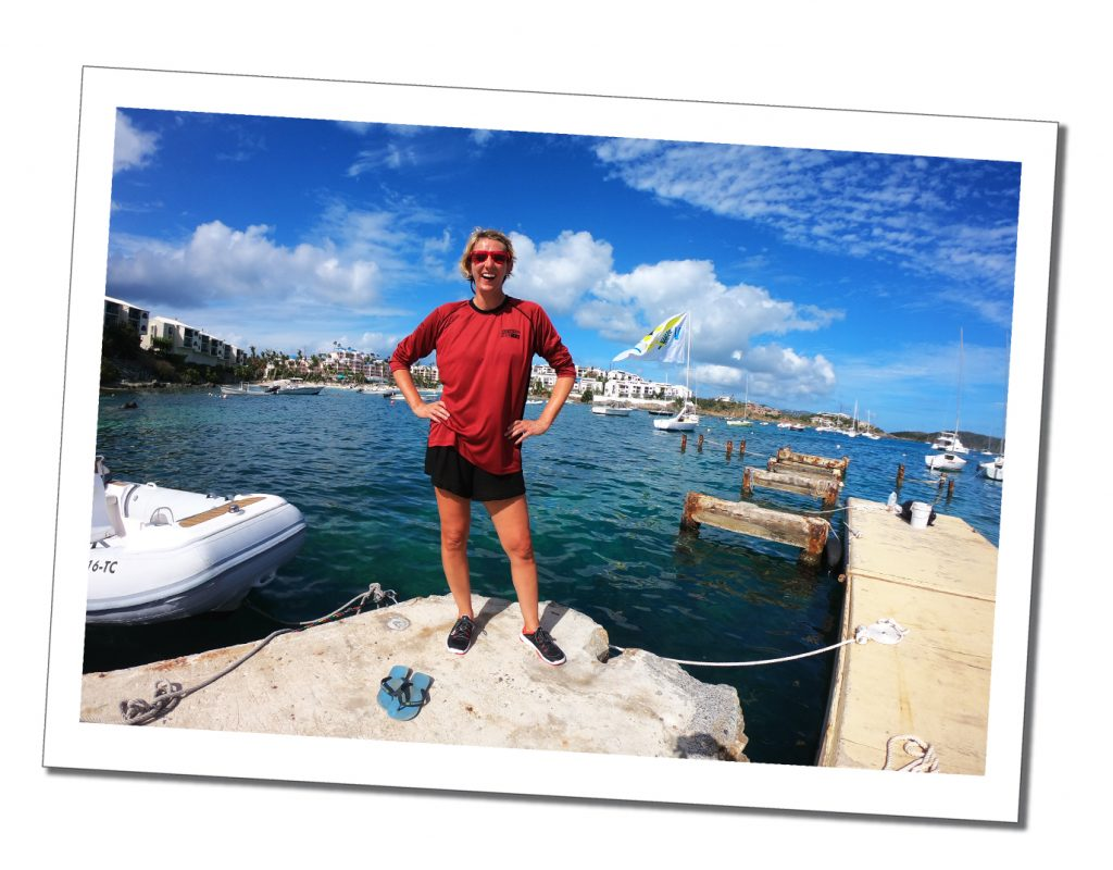 SueWhereWhyWhat on the quay ready to take part in a first Regatta, St.Thomas's, BVI