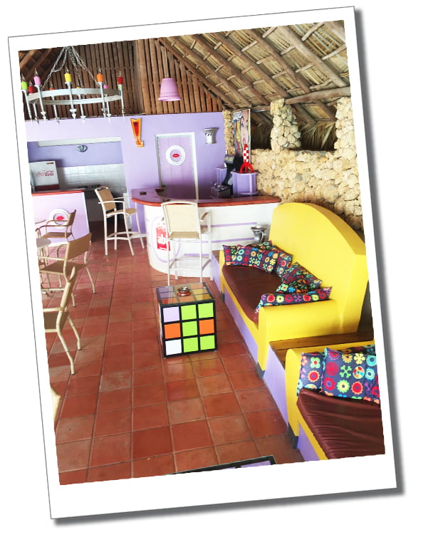 Hotel El Rincon, Dominican Republic, in the province of Samana, run by a French couple who spend 6 months in the offseason redesigning the pop art décor every year