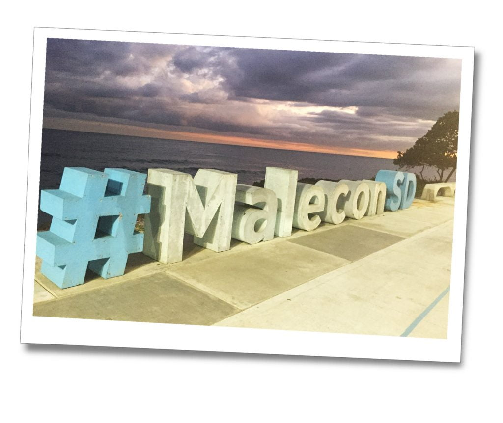 Concrete letters in white & light blue spelling the word #MaleconSD, just off of the beach, Malecon, Dominican Republic