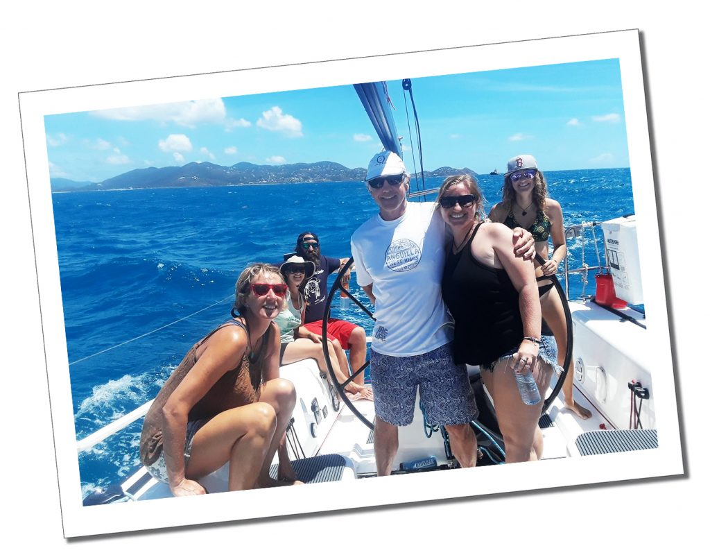SueWhereWhyWhat and friends sailing on a sunny day, St.Thomas's BVI