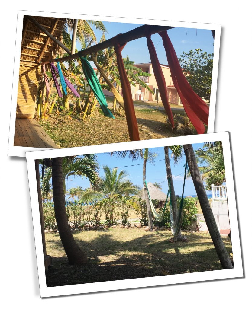 Mhai Yoga Shala, coloured ribbons blow in the breeze, at Mhai Yoga retreat, Viñales, Cuba
