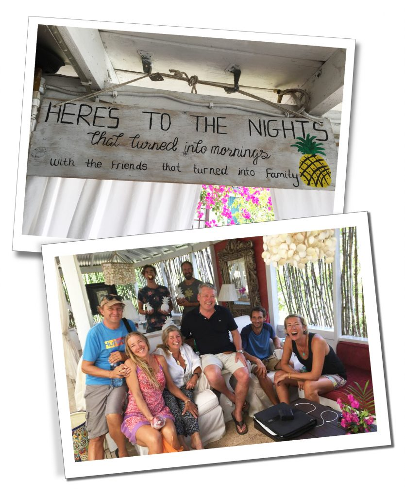 SueWhereWhyWhat and friends at Pineapple House, Antigua during her 5 months tour of the Caribbean in 2018.