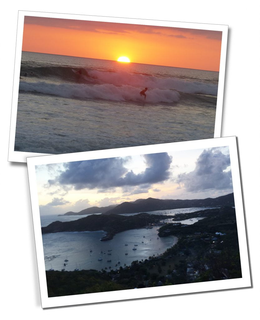Sunsets on the beaches of Costa Rica and Shirley Heights in Antigua.