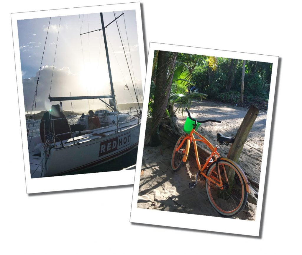 Different modes of transport used by SueWhereWhyWhat during her 5 Month Self Tour of The Caribbean. Yacht and Bike!
