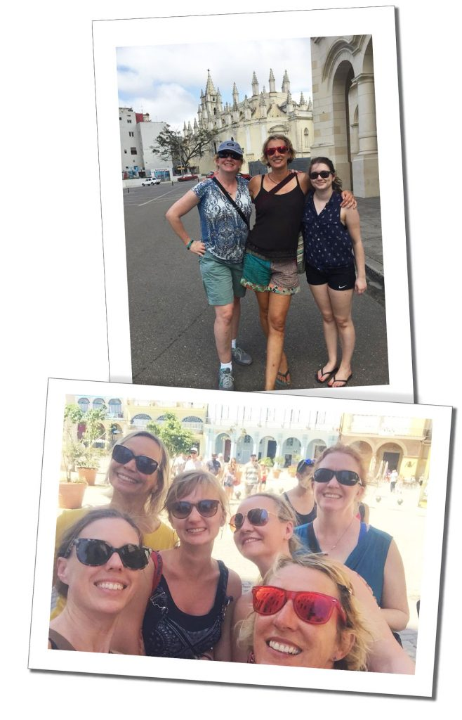 SueWhereWhyWhat with friends from Mhai Yoga on a day out in Havana, Cuba
