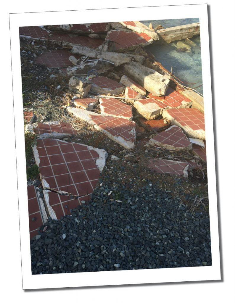 The smashed pavements at Sopers Hole, BVI, Caribbean