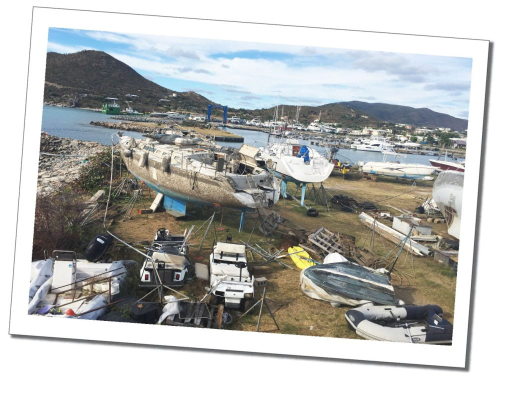 Broken boats being repaired at Spanish Town, Caribbean