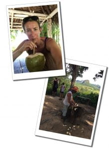 SueWhereWhyWhat drinking rum cocktails from a Coconut, Viñales, Cuba