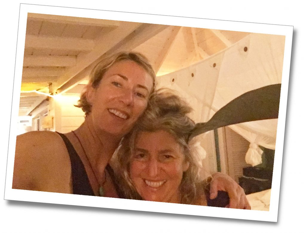 SueWhereWhyWhat and friend smiling for 'a selfie' at Pineapple House, Antigua