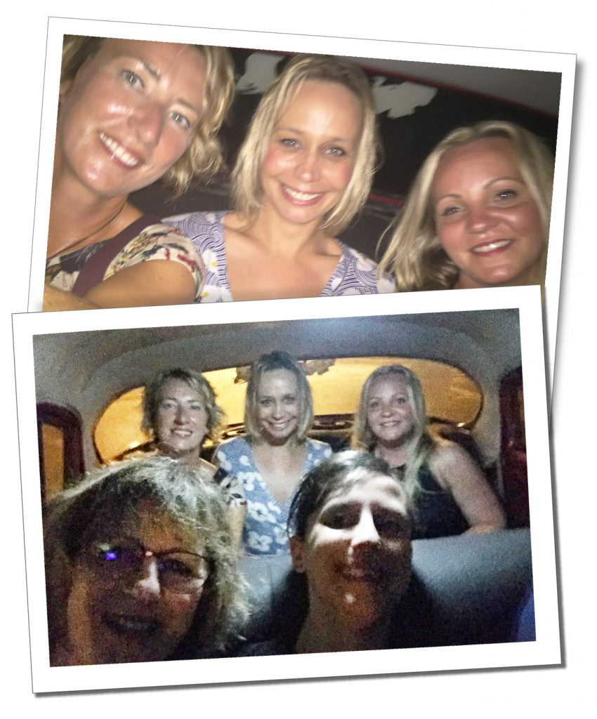 SuewhereWhyWhat on a night out in an old car, Havana, Cuba