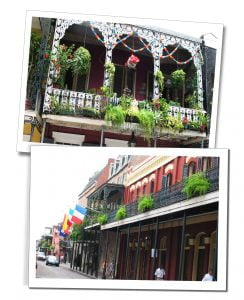 A parade of decorated balconies with shops below, New Orleans, USA