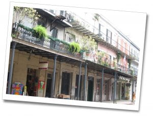 The colourful balconies of flats and houses in New Orleans, USA
