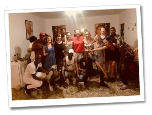 SueWhereWhyWhat with the yoga group & their Salsa instructors, Viñales