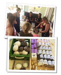 SueWhereWhyWhat at Mhai Yoga with the yoga group & ladies from local soap making business, Viñales, Cuba