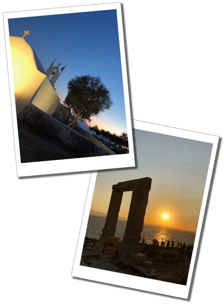 Crowds gather at Portara, Apollo's Temple, the ruined arch at sunset on the shores of Naxos, Greece