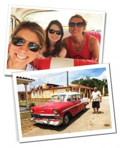 SuewhereWhyWhat with her Yoga Group, in a classic old red Cuban car, Viñales
