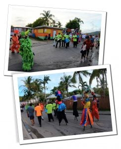 The brightly coloured costumes of the Carnival revellers, Antigua, Caribbean