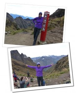 SueWhereWhyWhat & sign post, Inca Trail, Peru