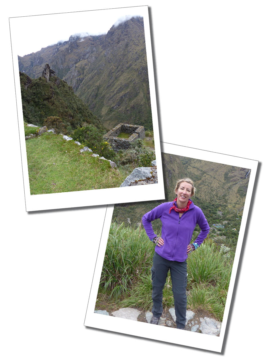 SueWhereWhyWhat smiling & the breath-taking scenery of the Inca Trail behind her, Peru