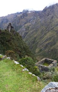 Stone walls and mountain pass, Inca Trail