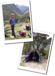 SueWhereWhyWhat end of day 1 & the catering tent, Inca Trail, Peru