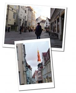 SueWhereWhyWhat walks the historic streets amongst the pastel buildings of Tallinn, Old Town, Estonia