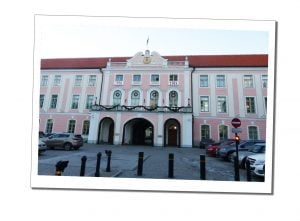 Toompea Castle, is 100 years old, a beautiful pink & white baroque building in Old Town Tallinn