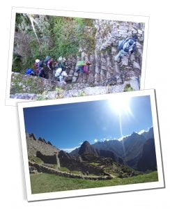 Hikers & their guide climb the 'Gringo Killer' steps at the end of day 3 on The Inca Trail
