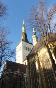 A view up to St.Olafs Church spire, on a beautiful sunny day in Tallinn, Estonia