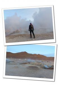SueWhereWhyWhat at the Sol De Manana Geyser in Bolivia