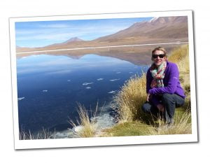 SueWhereWhyWhat by Laguna Canapa in a purple top and sunglasses, Bolivia