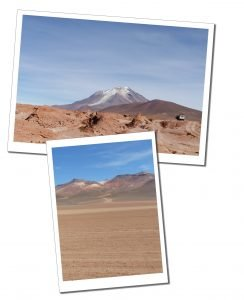 A view of Siloil and in the distance a Volcano, on the Salt flats of Bolivia