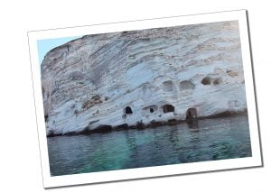The catacombs, Cyclades, Greece viewed from the sea on the Milos Boat trip