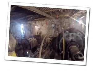 A view of the turbines inside the dusty and cramped Potosi Refinery, Bolivia
